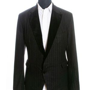 Dolce & Gabbana Black Striped Flannel Blazer 42R